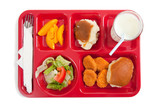 School lunch tray with food on it on a white backgrounf poster