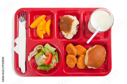 Fotobehang Assortiment School lunch tray with food on it on a white backgrounf