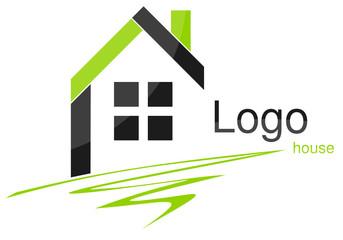 Logo maison quadrilatères plume vert gris