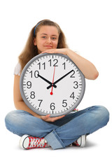 Female student with big clock