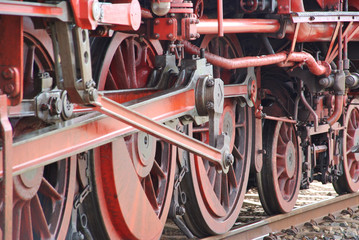 Close-up of steam engine train