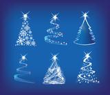 Fototapety christmas tree modern illustration set of 6