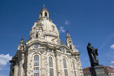 Dresdner Frauenkirche and Martin Luther Statue in Dresden