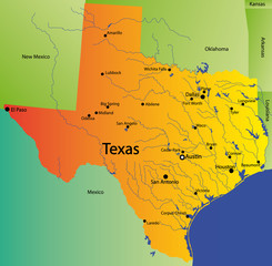 detailed vector map of texas state , usa