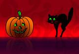 Halloween: calabaza y gato poster