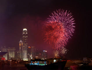 Fireworks in Hong Kong China (01 oct 2009)