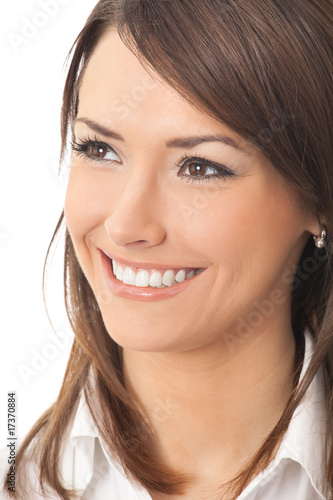 Portrait of young happy businesswoman, isolated on white