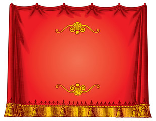 Red curtain frame vector