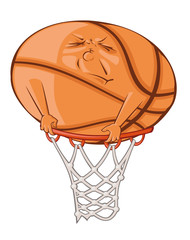 The fat ball is trying to get in the basketball basket.