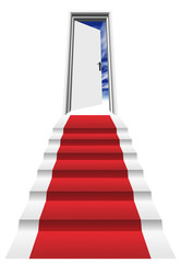 High resolution 3D red carpet on stairs in front of a o door