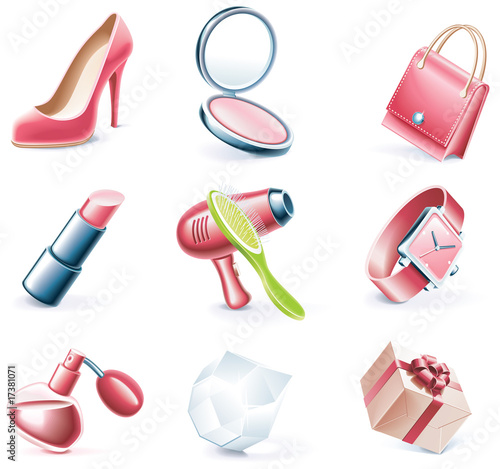 Vector cartoon style icon set. Part 17. Woman`s stuff