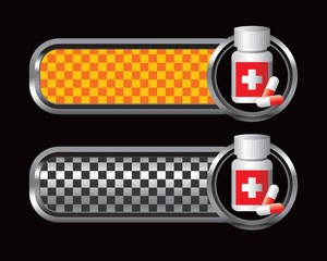 Medicine bottle on orange and black checkered tabs