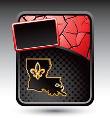 Louisiana icon on red cracked background