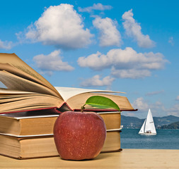 book and apple on desk