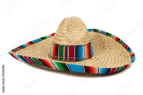 Leinwandbild Motiv Straw Mexican Sombrero on white background