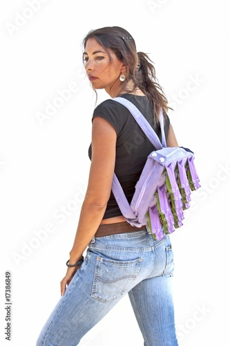 Beautiful indian woman with backpack