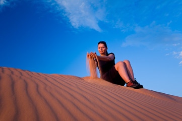 Woman at Coral Pink Sand Dunes