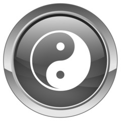 Ying & Yang button (vector)