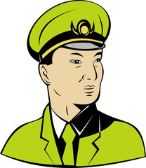 Asian or  Chinese military general