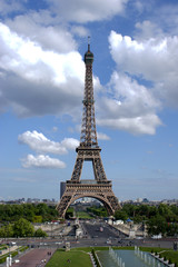HDR of Eiffel Tower against cloudy sky