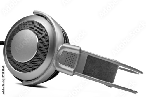 Silver Headphones on a white background