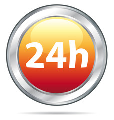 24h Delivery single icon in an orange glass ball