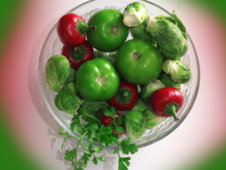 Fresh vegetables in round bowl made of glass