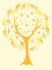 A vector illustration of a beautiful tree in yellow tones