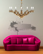 Pink couch with golden chandelier in minimalist interior