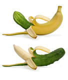 Banana with a cucumber
