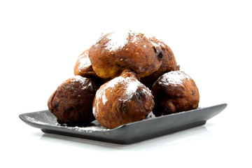Dutch donut oliebollen over white background