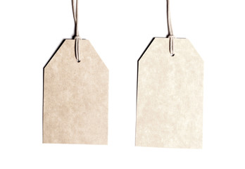 Blank tags isolated on white.