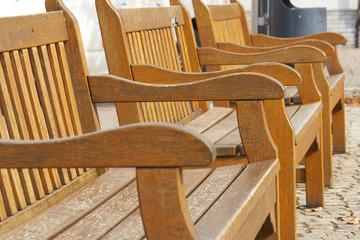 Three wooden bench