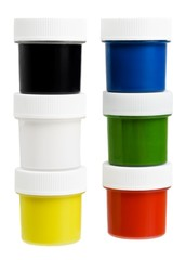Set of the watercolor gouache paints isolated on white