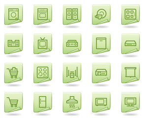 Home appliances web icons, green document series