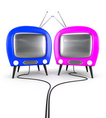 Couple TV - symbolize man and woman. Relationship concept.