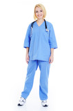 Full length portrait of  a female doctor  in surgical uniform poster