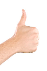 Human hand showing thumbs up isolated on white