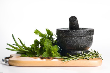 Mixed Herbs on Chopping Board