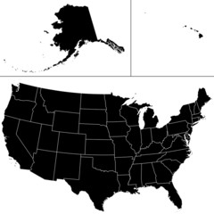 Detailed vector shape of the Unites States of America