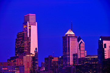 Center city Philadelphia and new comcast center at dusk