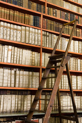 Shelves with old books in the library and wooden stepladder