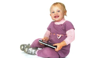 little girl with psp