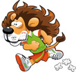 Runner Lion. Funny cartoon and vector sport character.