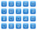 Database web icons, blue square buttons with dots poster