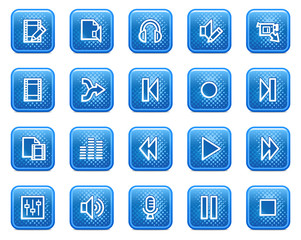Audio video edit web icons, blue square buttons with dots