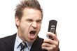 Businessman has stress and screams - Geschäftsmann schreit