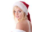 beautiful blond woman in santa hat