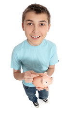 Happy boy with money box