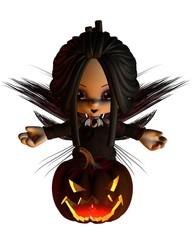 Cute Toon Halloween Fairy and Pumpkin Lantern - kneeling